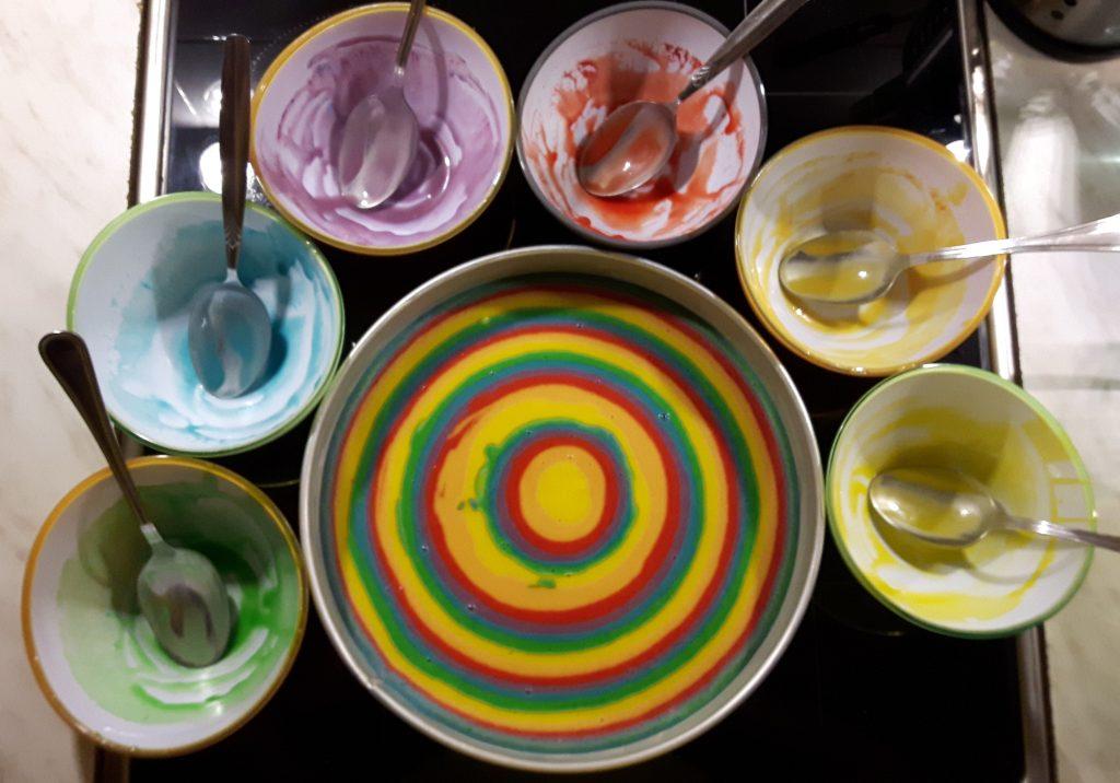 Regenbogen-Kuchen - Making of