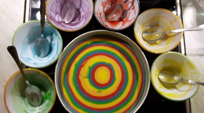 Regenbogen-Kuchen - Making of